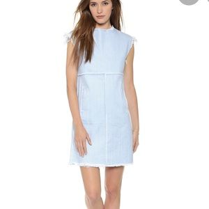 Marc Jacobs Frayed Denim Dress with Front Pockets
